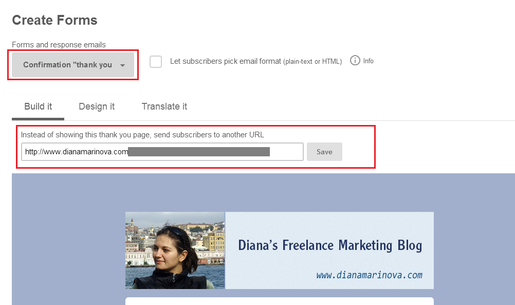 Insert url of your custom thank you page - use Mailchimp to auto send ebook