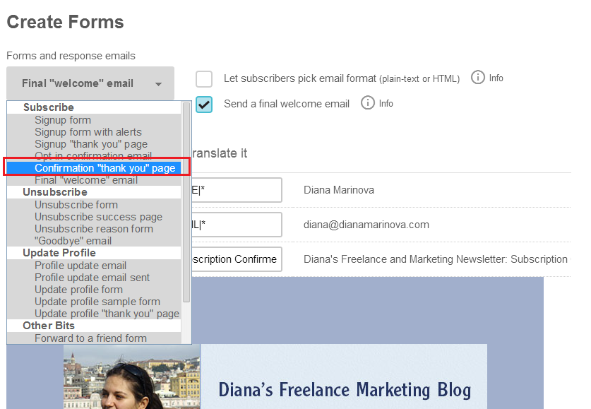 Step 7 - Redirect readers to a cutom thank you page - Mailchimp how to