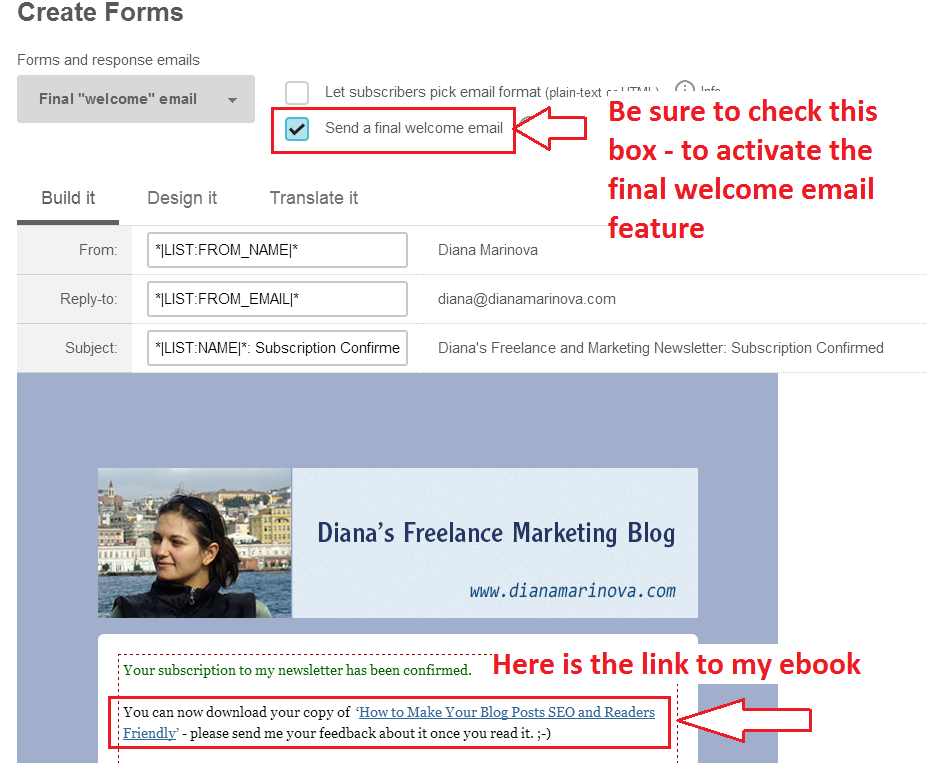 customizing the final welcome email - Mailchimp how to