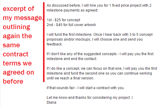 second message with oDesk contract terms clearly stated