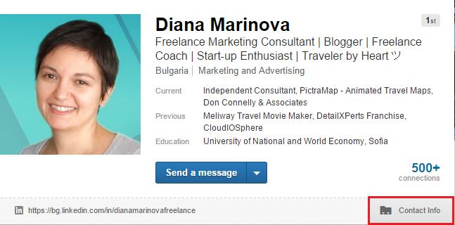 LinkedIn Profile - Contact Info