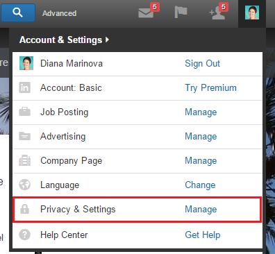 LinkedIn Profile - Privacy and Settings