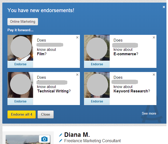 Endorse on LinkedIn section on my LI profile - 4 people