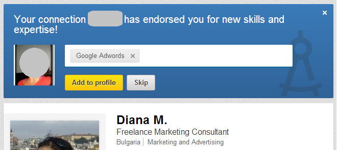 Endorse on LinkedIn section on my LI profile