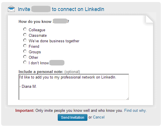 Invite to connect on LinkedIn