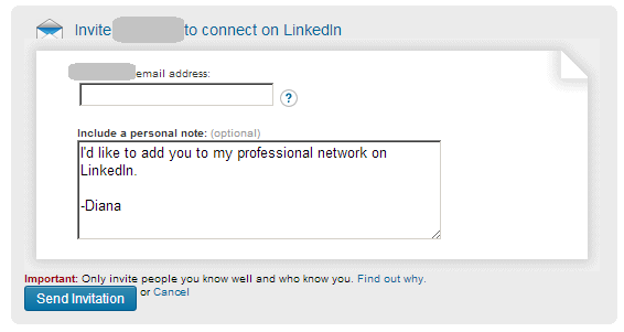 LinkedIn connection invite via email