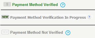 Freelance client payment method verification status
