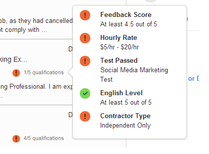 Qualifications match in a freelance application on oDesk