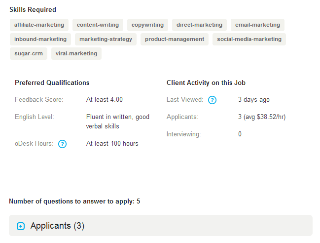 Tough requirements in the job post of this freelance client