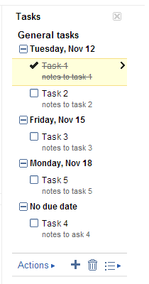 General Tasks in Google Task Manager