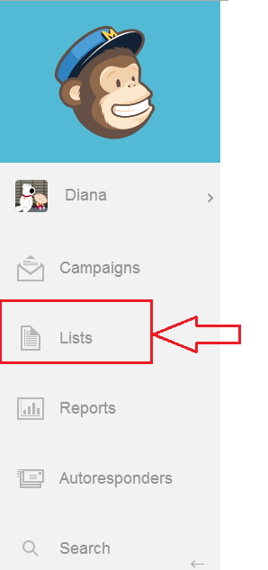 Step 2 - Choose Lists from your left navigation - Mailchimp how to