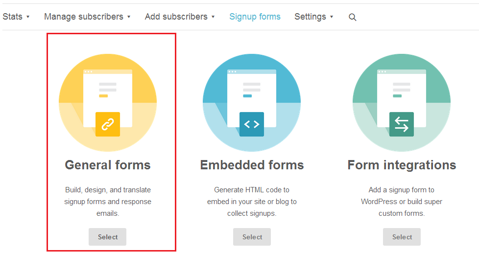 Step 5 - Choose General Forms - use Mailchimp how to