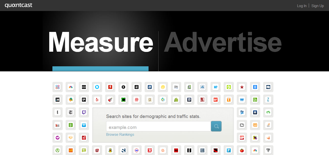 Screenshot of Quantcast homepage - search field in the middle of the screen