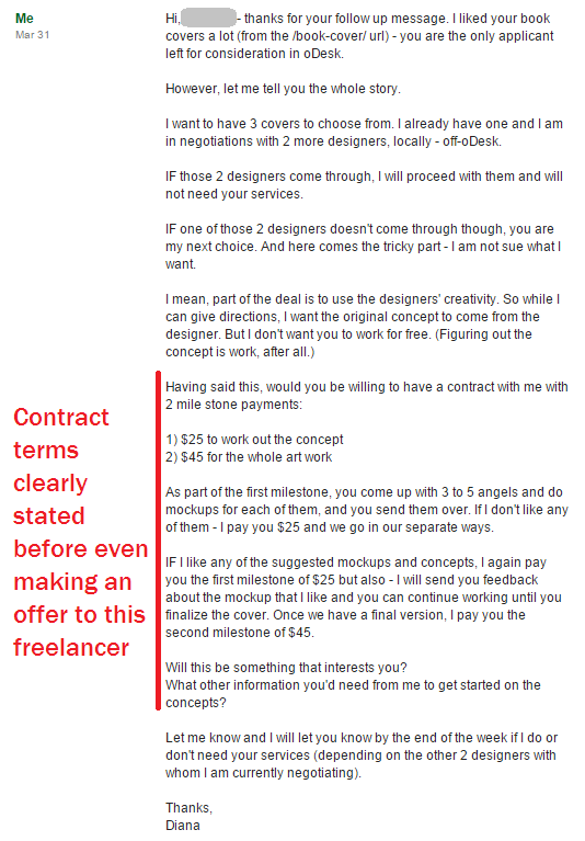 oDesk contract terms clearly stated