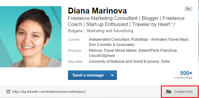 LinkedIn Profile - Contact Info