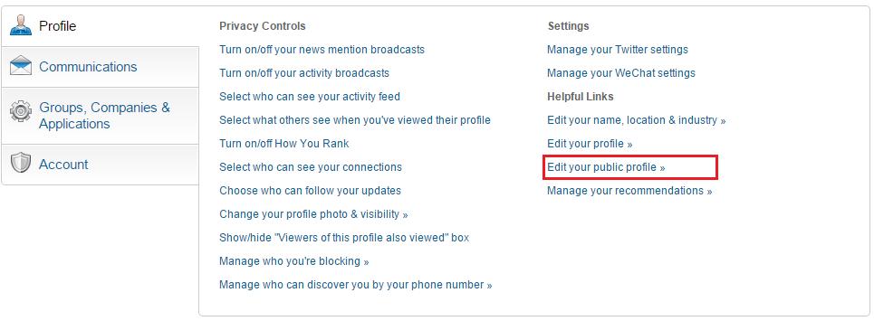 LinkedIn Profile - Edit public profile