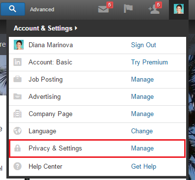 LinkedIn Profile - Privacy and Settings