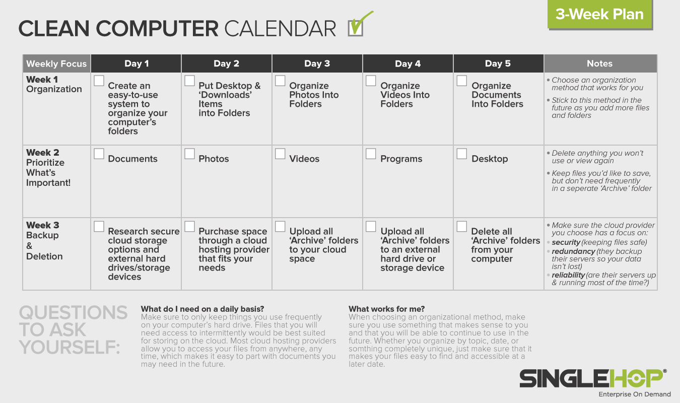 Three-week calendar to organize your computer files - by SingleHop